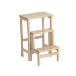 VALDOMO 156/18 Scaletta-Sgabello in legno Suegiù naturale